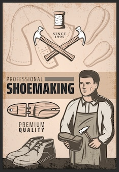 Affiche de fabrication de chaussures de couleur vintage avec cordonnier répare les marteaux de chaussure botte en bois et bobine de fils