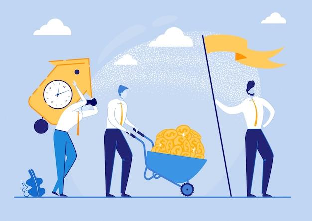 Affiche faisant du profit pour la tâche terminée à temps. l'homme roule avec des pièces de monnaie, guy porte une montre lourde, le patron tient le drapeau. les méthodes et les compétences contribuent au développement d'une réflexion de type réussie.