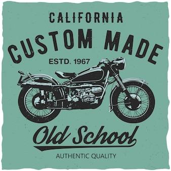 Affiche faite sur commande de californie avec des mots old school et qualité authentique
