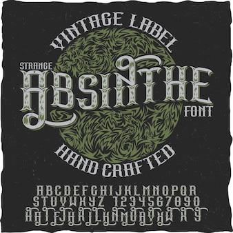 Affiche faite à la main d'absinthe à utiliser dans toutes les étiquettes d'alcool de style vintage