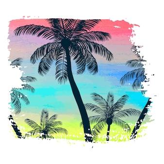 Affiche faite à la main sur fond de coup de pinceau aquarelle avec palmiers, motif d'été créatif, impression. illustration vectorielle