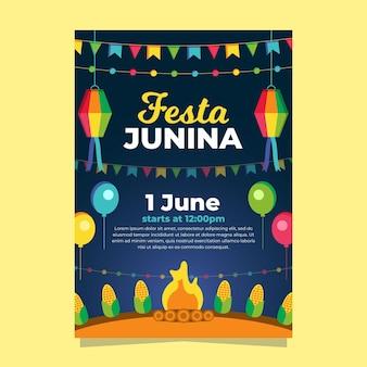 Affiche festa junina design plat