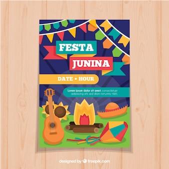 Affiche de festa junina avec des éléments de célébration
