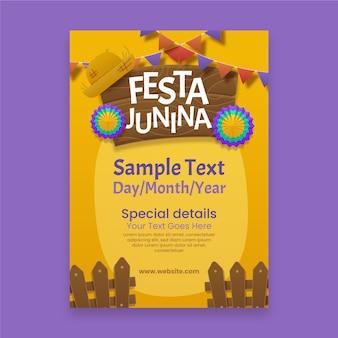 Affiche festa junina réaliste avec des fleurs