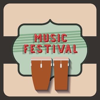 Affiche de festival de musique rétro isolé dessin d'icône