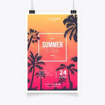 Affiche de festival tropical d'été