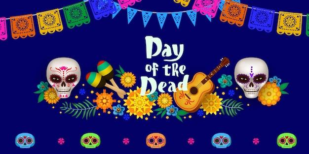 Affiche festive pour le jour des morts avec des crânes en sucre