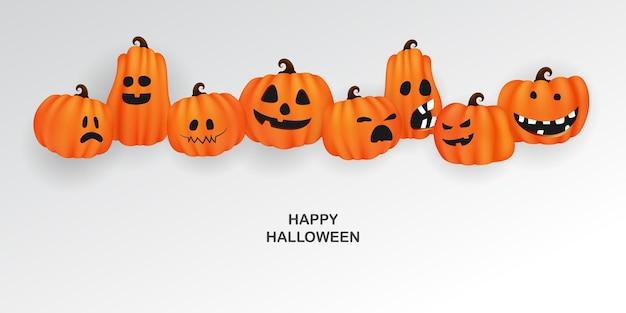 Affiche de fête d'art papier halloween. définir les citrouilles de la conception de concept de fond de carnaval effrayant et drôle de collection