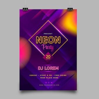 Affiche de fête au néon