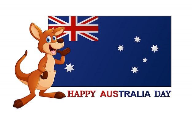Affiche de la fête de l'australie avec kangourou sur fond blanc