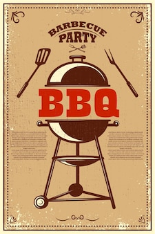Affiche de fête barbecue. barbecue et grill.