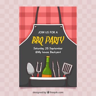 Affiche de fête barbecue bbq dessinés à la main