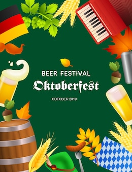 Affiche de la fête de la bière oktoberfest avec symboles