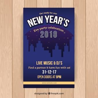 Affiche de fête bleu foncé pour la veille du nouvel an