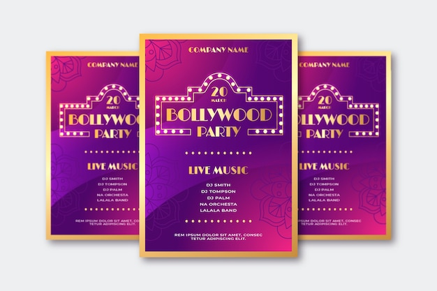 Affiche de fête de bollywood avec lettrage doré
