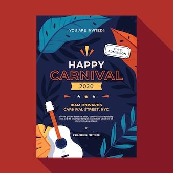 Affiche de fête de carnaval au design plat