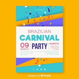 Affiche de fête de carnaval brésilien de confettis colorés