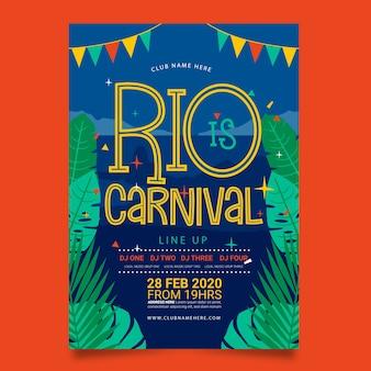 Affiche de fête de carnaval brésilien dessiné à la main de rio de janeiro