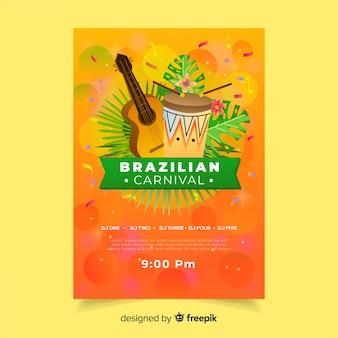 Affiche de fête de carnaval brésilien d'instruments réalistes