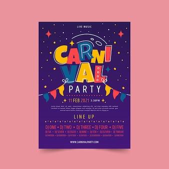 Affiche de fête de carnaval dessinée à la main avec des guirlandes