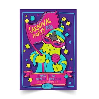Affiche de fête de carnaval dessinée à la main