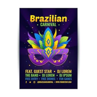 Affiche de fête de carnaval avec masque coloré