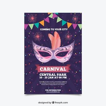 Affiche de fête de carnaval pourpre