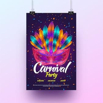 Affiche de fête de carnaval réaliste