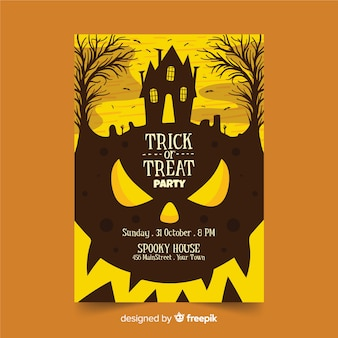 Affiche de la fête de la citrouille halloween courbes près