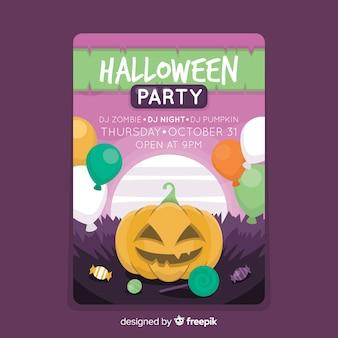 Affiche de fête colorée citrouille halloween