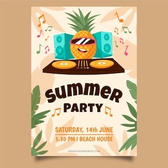 Affiche de fête dessiné à la main ananas