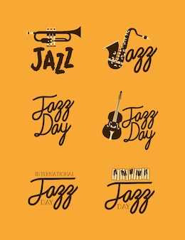 Affiche de la fête du jazz ensemble de modèles