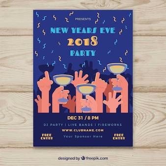 Affiche de fête du nouvel an 2018 avec toasts