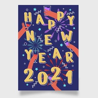 Affiche de fête du nouvel an 2021 dessinée à la main