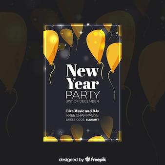 Affiche de fête du nouvel an dessinée à la main moderne