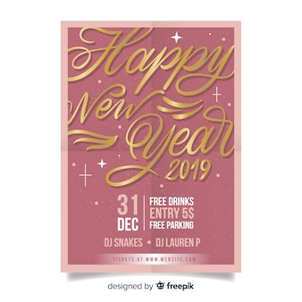 Affiche de la fête du nouvel an de lettres d'or
