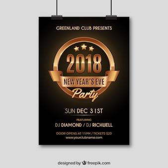 Affiche de fête du nouvel an noir et or
