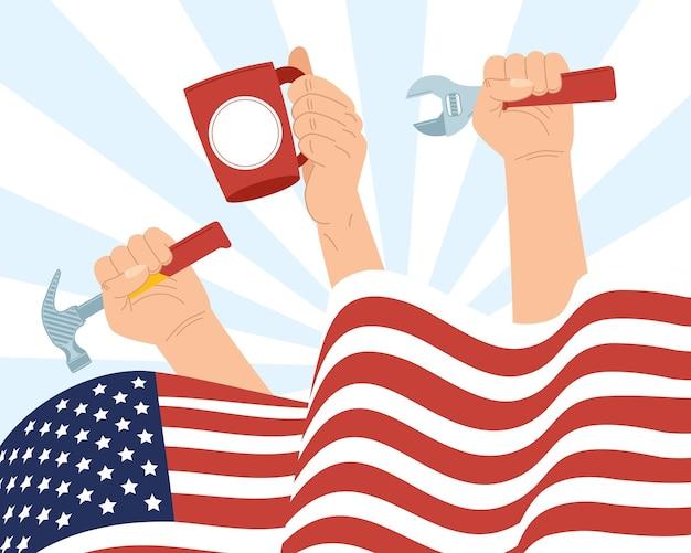 Affiche de la fête du travail des états-unis avec outil