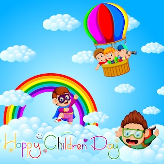 Affiche de la fête des enfants heureux