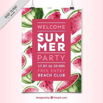 Affiche de fête d'été aquarelle de pastèque