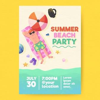 Affiche de fête d'été aquarelle