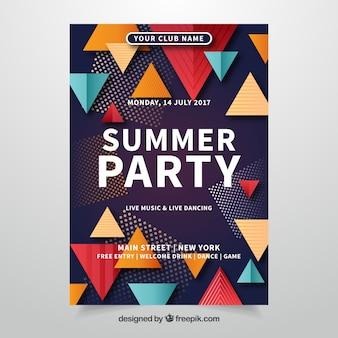 Affiche de fête d'été aux triangles