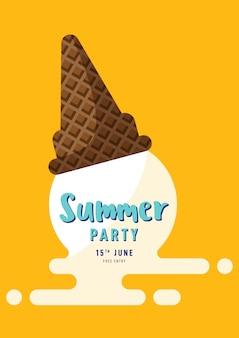 Affiche de fête d'été de crème glacée fondue