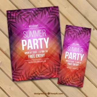 Affiche de fête d'été dans des tons pourpres