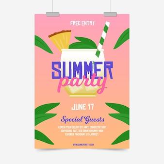 Affiche de fête d'été design plat