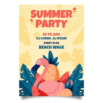 Affiche de fête d'été dessiné à la main oiseau flamant rose