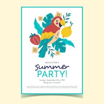 Affiche de fête d'été dessiné à la main