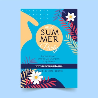 Affiche de fête d'été dessinée à la main de fleurs