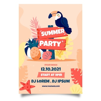 Affiche de fête d'été dessinée à la main d'oiseau exotique