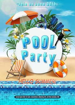 Affiche fête d'été fête à la piscine avec anneau gonflable orientation verticale